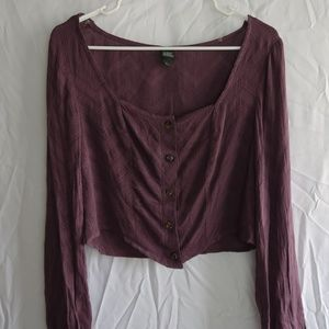 Wild Fable Purple Button Up Crop Top (M)